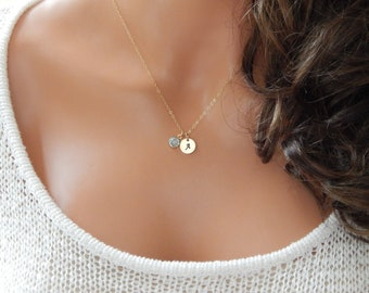 Initial Birthstone Necklace • Personalized Birthday Gift for Her • Custom Monogram Stamped Minimal Layering  Girlfriend Gift