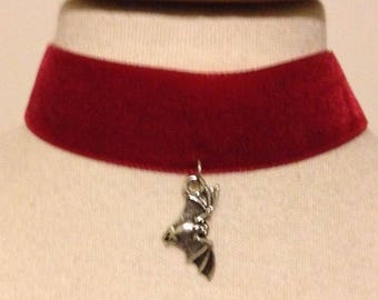 SALE red velvet choker with bat charm