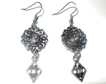 Vintage Earrings Dangles Silver Tone Metal Rhinestones Costume Jewelry Fashion Accessories Casual Style