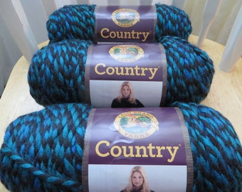 Super Bulky Yarn, Blue Black Yarn 3 Balls  Kennebunk Teal  Acrylic,  Lion Brand Country Yarn, Destash Yarn