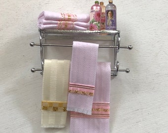 Miniature Decorated Bathroom Shelf, Towels, Shampoo, Silver Rack With Accessories by Reutter, Dollhouse Miniature, 1:12 Scale