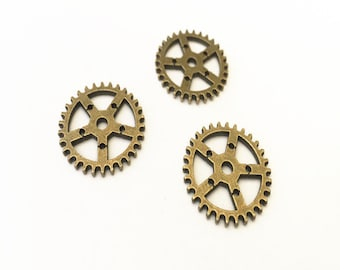 20pcs Antique bronze gear  pendant  charm 25mm