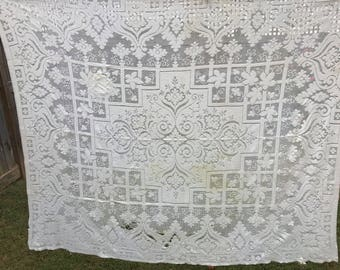 Vintage Off White Lace Cutter Tablecloth