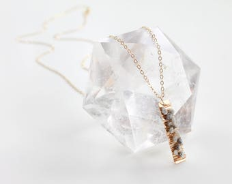 Raw Diamond Necklace - Gold, Silver, or Rose Gold - Custom Length - Wire Wrapped - Gold Bar Necklace - Minimalist Freeform Diamond Gemstone