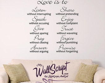 Love Is.. Wall Art, Wall Graphic for Bedroom, Valentine Graphic, 10 Ways to Love