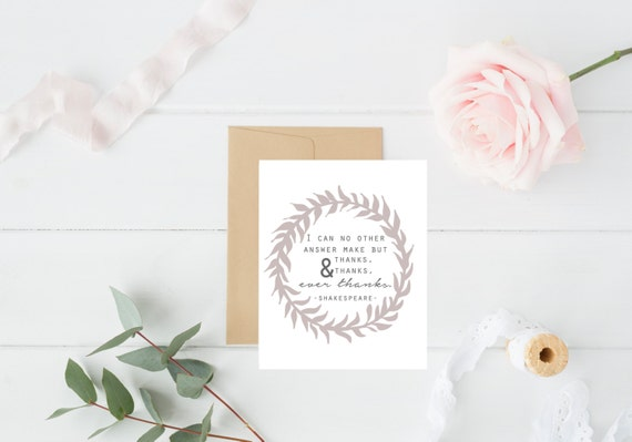 Thank You Printable / Shakespeare Quote Print / Thank You Card