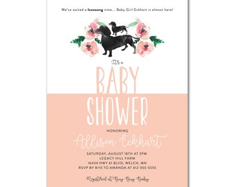 Baby Shower 5x7 Invitation - Daschund Weenie Dog - Worth the long wait - Printable and Personalized