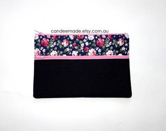 Beautiful Floral and blue Pencil case/ Makeup Bag 21.5cm x 14.5cm With Two Pockets and   pink Zippers,