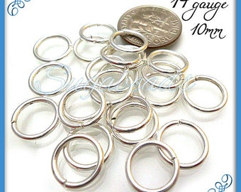 100 Silver Plated Jump Rings, 10mm Jump rings, 14 Gauge Jump Rings, JRSP2