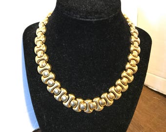 Gold Tone Necklace Choker Statement Jewelry Vintage Mid Century