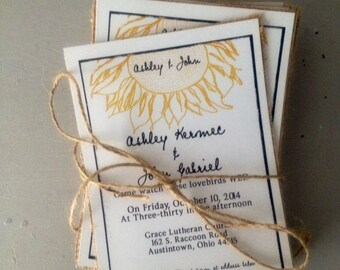 Sunflower Wedding Invitations, Burlap Wedding Invitation, Black and White Wedding Invitation