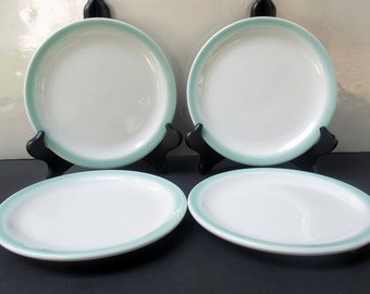 Shenango Restaurant Ware - Interpace Aqua Turquoise Air Brush - Set of 4 Salad Plates