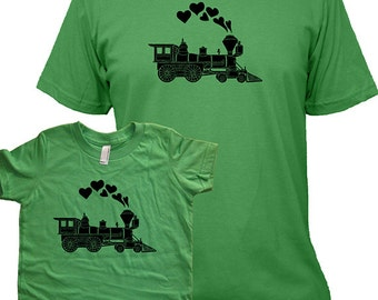 Valentines Day Matching Father Son Shirts, Train T shirts, gift, new dad shirt, father son, gift for dad, gift for dad son kids, set