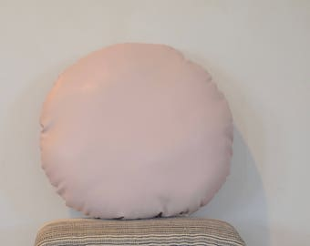 Round Faux Leather Blush Pillow/Pink Pillow/RosePillow/Light Pink Pillow/Round Faux Leather/Round Collection/ Zigzag Studio Design
