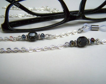Eyeglass Chain, Eyeglasses Necklace, Black Czech Stone, Womens Eye Wear, Chain for Glasses, 28 inches by Eyewearglamour