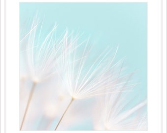 Dandelion Art Print - Little girl room art - Dandelion Wall Art - Baby turquoise Nursery Print - Dandelion Macro Photo - Baby Art