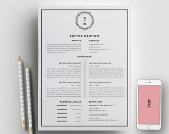 Resume Template 3 page pack | CV Template + Cover Letter for MS Word | Instant