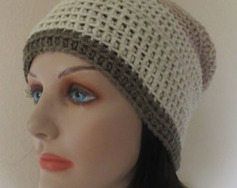Shades of Brown Slouchy Hat, Brown Slouch Beanie, Gender Neutral Hat, Snow Hat, Ice Skating, Hockey Dad, Hockey Mom