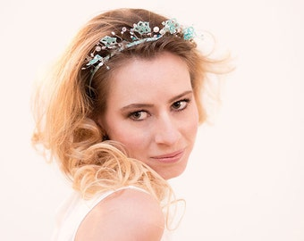 Wedding headband lace beads tatting bridal headpiece OOAK
