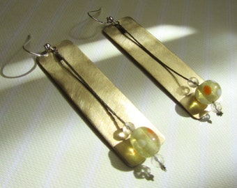 Gold and Silver Earrings Sterling silver clip Glass Bali beads Dangle & drop Handmade Greek jewelry
