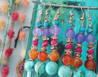 Rainbow boho Gypsy Summer Earrings Hand wrapped with Turquoise Fire Agate Magnesite and quartz