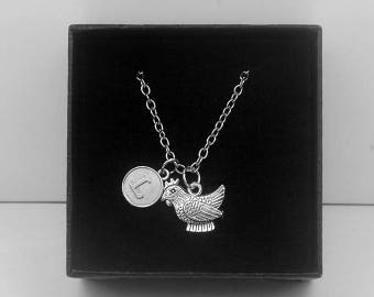 Silver Hen Necklace -Chicken Necklace -Hen Party Jewelry -Initial Charm Necklace -Your Choice of A to Z