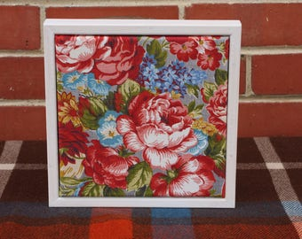 Vintage Floral Fabric in a Whitewashed Frame #3