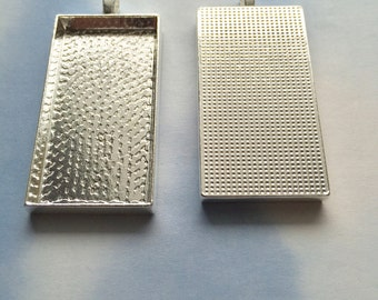 10 Rectangle Pendant Tray Blanks (DP532)