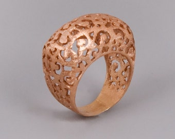 Rose Gold Ring, Lace Ring, Filigree Ring, Moroccan Jewelry, Victorian Ring, Chunky Ring, Tibetan Ring, Boho Ring, Statement Ring Rose Gold