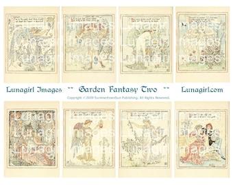 GARDEN FANTASY #2 digital collage sheet, flower fairies, Art Nouveau Fairy Tales, vintage images Victorian ephemera, Fairy Cards, DOWNLOAD