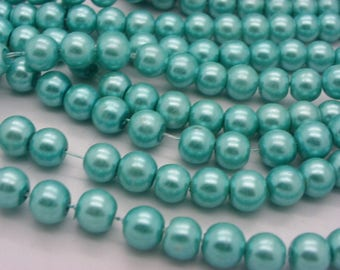 50 beads 8 mm Pearl glass 8 mm blue turquoise Pearl 5-1 mm hole