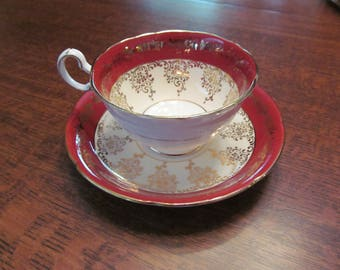 Royal Grafton Teacup and Saucer red and White