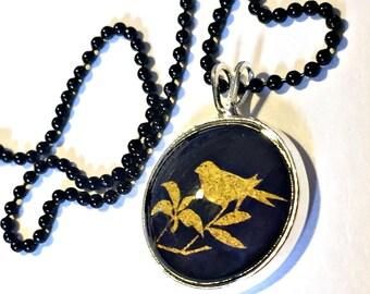 Bird Necklace, Gold Bird Black Pendant, 16mm Black Bird Pendant on 24 inch Black Chain, BirdNecklace, Bird Love Pendant, Bird Branch Pendant
