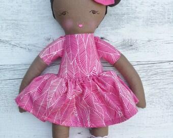 "Jade - Handmade rag doll, 38cm (15""), fabric doll, cloth doll, gifts for girls."