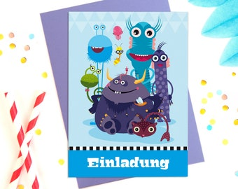 10 children's Birthday invitations with purple envelopes for a monster theme party, girls and boys, postcards to fill out