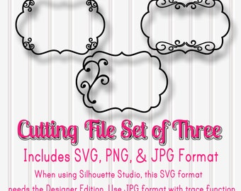 SVG Files Set of 3 Scallop frames-SVG, PNG, and jpg formats included-swirl curly cutting file for vinyl paper etc!
