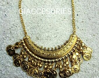 Statement necklace, Chunky necklace, bib necklace, gold necklace, Necklace, statement jewelry