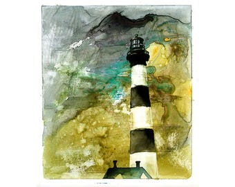 Bodie Island lighthouse- Outer Banks, North Carolina.  Lighthouse painting OBX.  Home decor.  Lighthouse art.  Wall art lighthouse painting