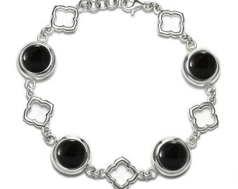 Black Onyx Bracelet, 925 Sterling Silver. , color black, weight 20.6g, #46584