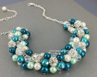 Shades of Teal and Mint Necklace Pearl Necklace Bridesmaids Gift Bridesmaid Jewelry Teal Necklace Maid of Honor Necklace Teal and Mint
