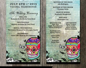 Skull Wedding Program - Double Sided- Digital Printables. Dia De Los Muertes Sugar Skull Wedding Programs