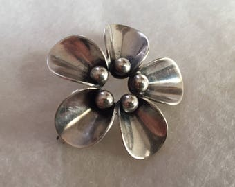 Sterling Brooch, Calla Lily by Designer NE From, Danish Mid Century Modernist