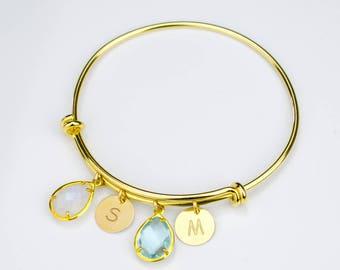 Christmas gifts for mom, Personalized mom bracelet, Birthstone bangle bracelet adjustable bangle initial bracelet grandma bracelet stackable