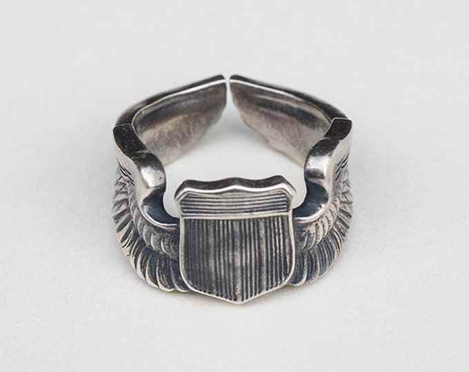 WW2 Air Force Pilot Wings Ring | 950 Sterling Silver | USAF Pilot Rings | Vintage Silver Ring | Aviator Ring | Military Rings | Army Ring