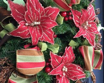 Front Door Wreath, Christmas Wreath, Christmas Wreath with Crimson Red Poinsettias