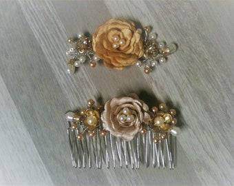 headband flower mustard Beige Brown pin clip barrette hair comb/flower decorative flower / at the head jewel Bridal choice/brown