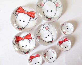 "Lot 8 ""SO CUTE - mouse"" (craftsmanship) theme cabochons 12mm / 20mm / 25mm"