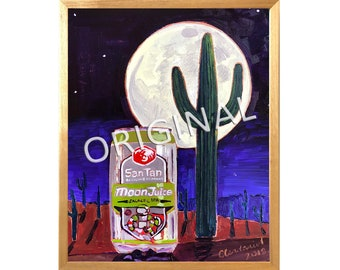 Arizona Beer Gift for Him, Full Moon Painting, SanTan Brewing, Moon Juice Galactic IPA, Saguaro Cactus in Desert Art, Astronaut in Space