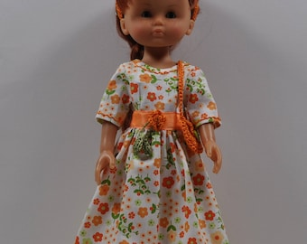 dress Princess doll honey orange and green floral cotton
