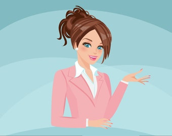 Business owner, shop owner Avatar Design. Brunette character graphics, business, blog header, woman illustration, web design, pink suit